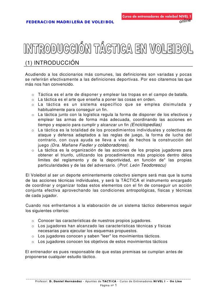 FEDERACION MADRILEÑA DE VOLEIBOL(1) INTRODUCCIÓNAcudiendo a los diccionarios más comunes, las definiciones son variadas y ...