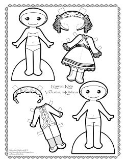 Kawaii Kids 2013: Victorian Holiday.  Black and white Victorian paper doll to color