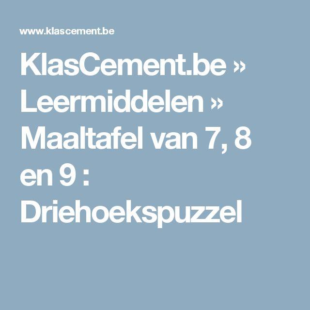 KlasCement.be » Leermiddelen   » Maaltafel van 7, 8 en 9 : Driehoekspuzzel