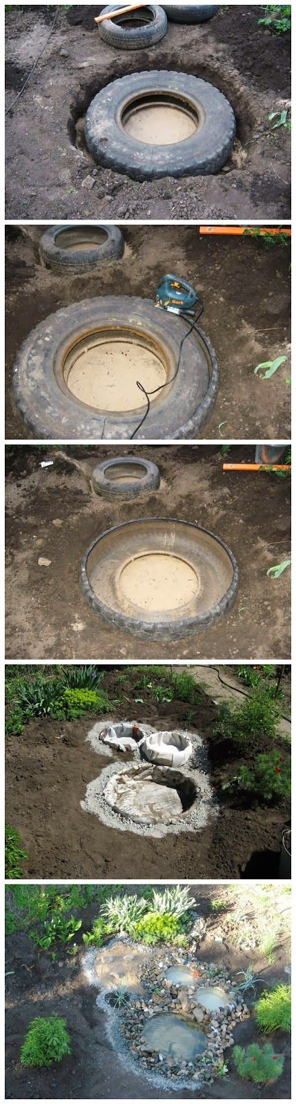 Turn your old car or truck tires into a backyard pond!*****Follow our unique garden themed boards at www.pinterest.com/earthwormtec *****Follow us on www.facebook.com/earthwormtec for great organic gardening tips #DIY #garden #repurpose