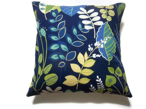 Two Navy Blue Royal Blue Turquoise Yellow White Green Chartreuse Pillow Covers Decorative Floral ...