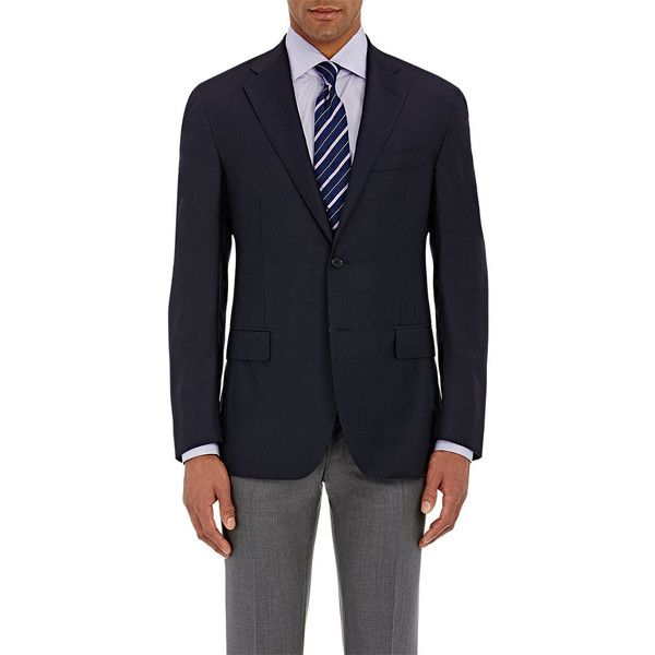 Barneys New York Men's Two-Button Blazer ($1,350) ❤ liked on Polyvore featuring men's fashion, men's clothing, men's sportcoats, navy, mens blazer jacket, mens navy blue blazer, mens clothing, mens wool blazer and old navy mens clothing