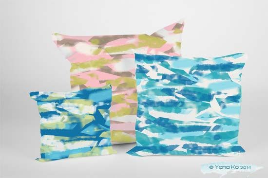 mocked up water ray print pillow cases of miid summer school brief