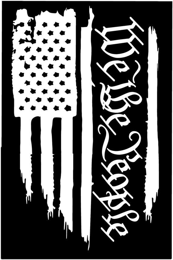 American Flag We The People Constitution 2nd Amendment Vinyl Die Cut