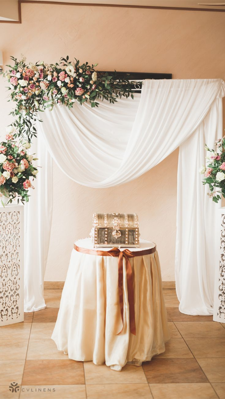 Chiffon Fabric Bolt 58 X 10 Yards White In 2020 Diy Wedding Drapery Wedding Drapery Backdrop Wedding Drapery
