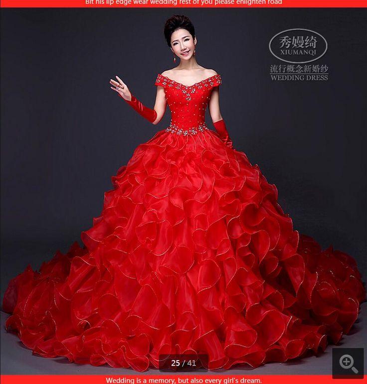 2016 new designer robe de bal robe de mariée à volants princesse puffy rouge robes de mariée en dentelle chapelle train robes de mariée vente chaude dans de sur AliExpress.com | Alibaba Group