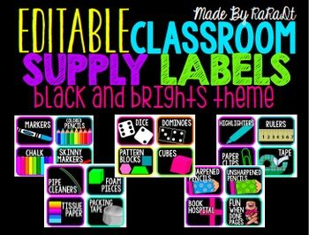 Organize your classroom with these color popping library labels for all your supplies! Created with the black and brights theme, these labels will not only attract your kiddos, but will keep your room looking neat and tidy! I have included many different labels and have also added an editable Power Point version for your convenience.