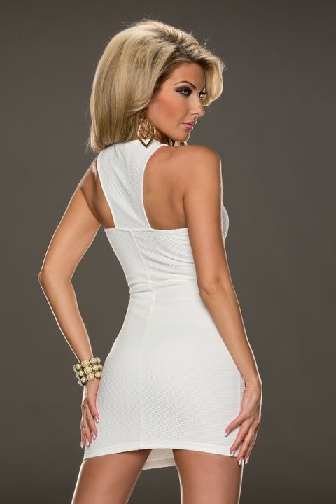 This two-piece graceful sleeveless mini dress in white features full zip up front closure, soft cup for support and halter style silhouette. Include a matching G-string.  €30 includes free shipping.