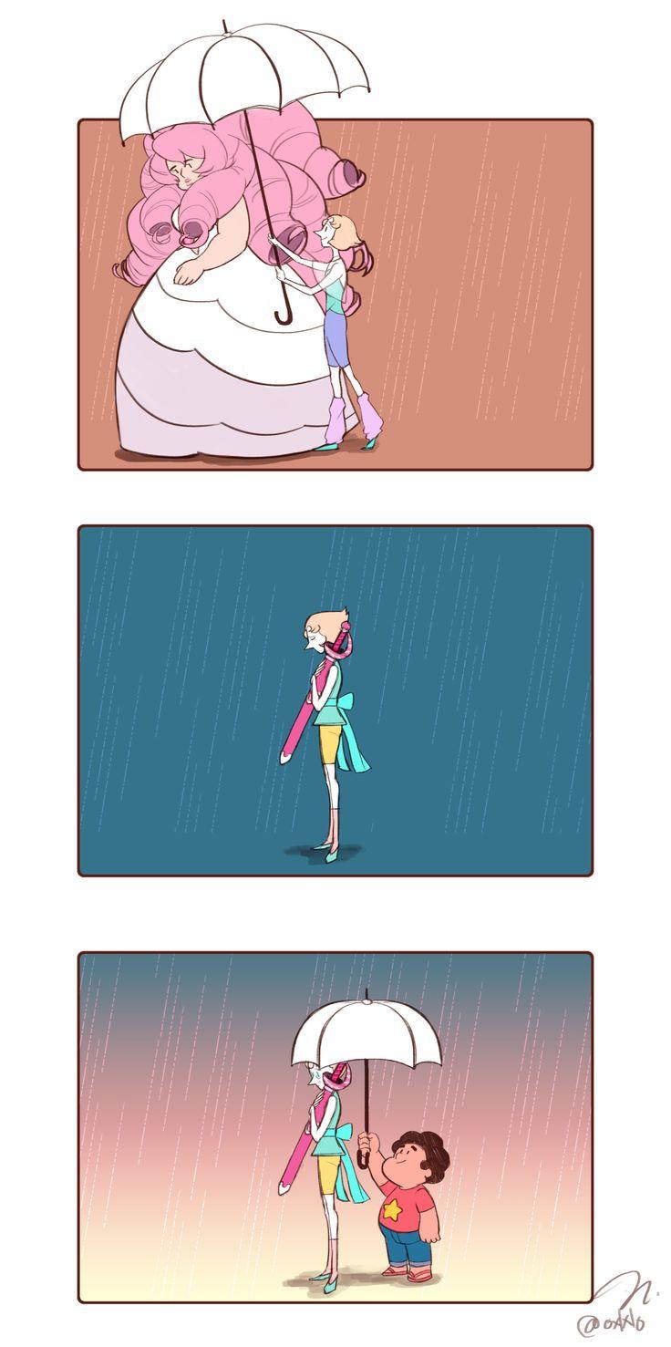 Rose Pearl and Steven #comic #umbrella
