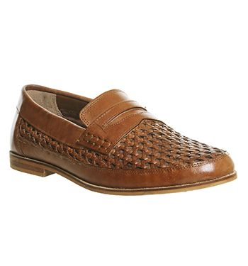 Office Dagenham Woven Slip On Tan Washed Leather - Casual