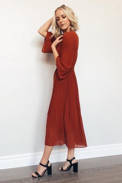 fcd3c1cfcf9b3 Lana Pleated Dress in Brick in 2019 | Bridesmaid Dresses | Dresses ...