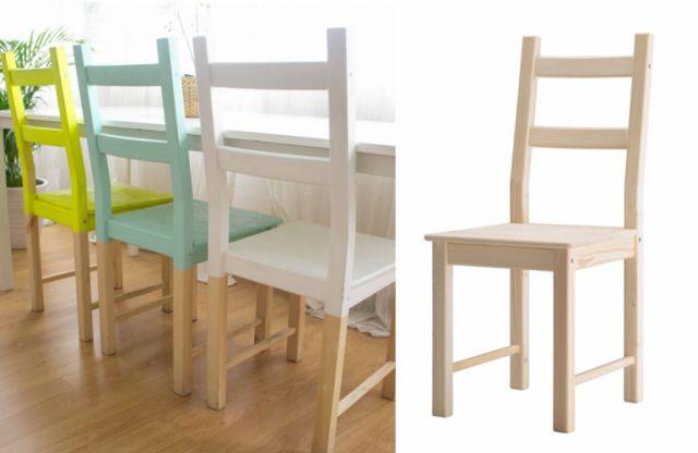 Il n'est pas toujours simple de trouver des chaises originales quand on a un petit budget. Heureusement, Ikea est là ! La chaise Ivar, au design très simple, a l'avantage d'être en pin et, donc, de pouvoir être customisée à l'envi. D'un coup de peinture, on la colore à notre goût. Effet dip dye, motifs…