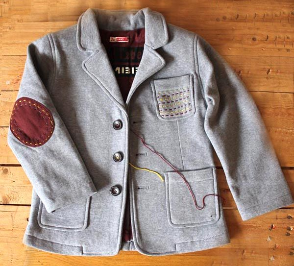 customizing a kid's blazer with elbow patches and other stitching