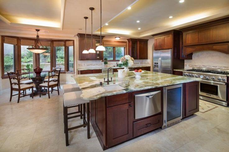 """Craftsman Kitchen with Flush, Monogram ZDBI240HII 24"""" Undercounter Beverage Center, Wine refrigerator, Breakfast nook"""