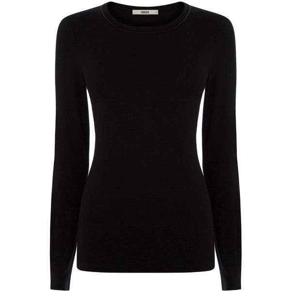 OASIS Satin Trim Crew Neck ($23) ❤ liked on Polyvore featuring tops, shirts, black, long sleeve crew neck shirts, longsleeve shirt, crew neck tops, oasis shirt and black shirt