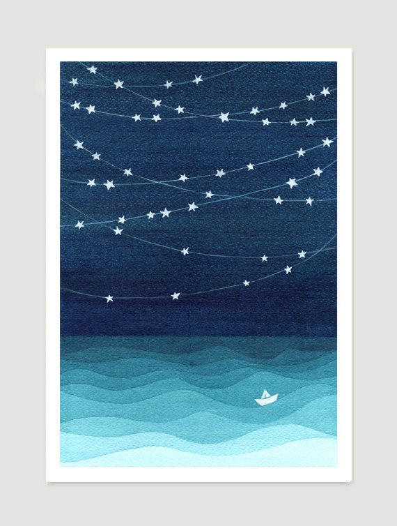 Watercolor painting giclee print nautical wall decor bedroom print kids painting sailboat nursery home decor teal art illustration (12.00 USD) by VApinx
