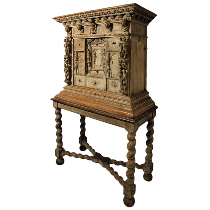 17th Century Carved Florentine Itallian Renaissance Cabinet