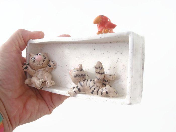 Cadre en relief céramique maman chat et son chaton : Décorations murales par…