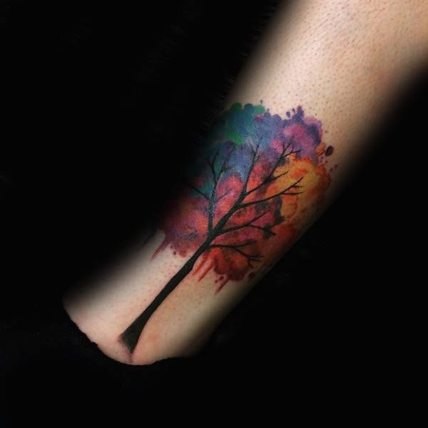 70 Watercolor Tree Tattoo Designs For Men Manly Nature Ideas Watercolor Tattoo Tree Tree Tattoo Tree Tattoo Forearm