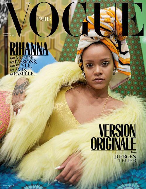 Rihanna par Juergen Teller en couverture du numéro de décembre 2017/janvier 2018 de Vogue Paris