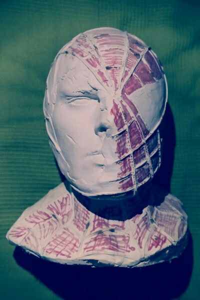 manosroussis.weebly.com #spiderman #mask #movie #2015 #handmade #Manos #roussis #greece #fantastic #modern #bust #red #white #art #favorite