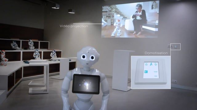 Showroom Aldebaran Robotics par Dalcans. Design of a digital customer experience including video Mapping, automation and photo call Terminal.