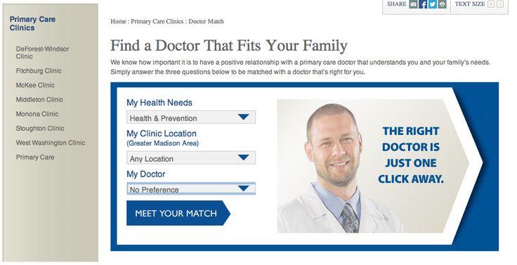 choosing a doctor, effective landing page http://www.meriter.com/