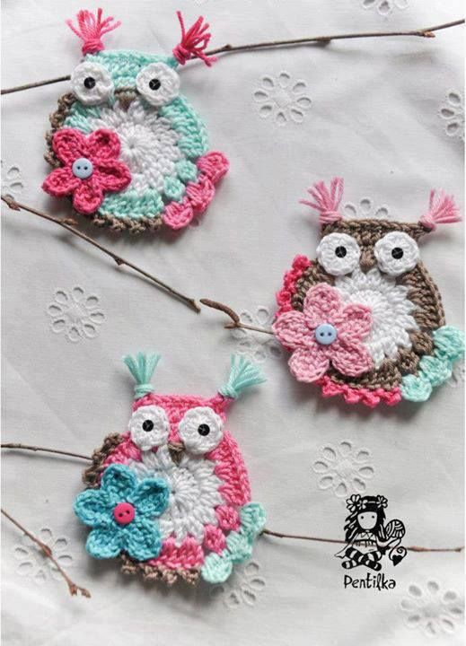 cute crocheted owls #decor #home If you see an idea anywhere chances are we can make it, or we know someone who can! Just visit us on our facebook page or call us 765-744-1080 (10:00am to 6:00pm EST) Find out more about me at: https://www.facebook.com/pages/Rustic-Farmhouse-Decor
