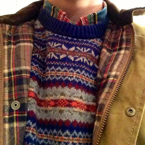 Fair isle style pattern jumper | Sweater, check shirt, checked coat lining | sunshineandfeelingfine: pattern clashing