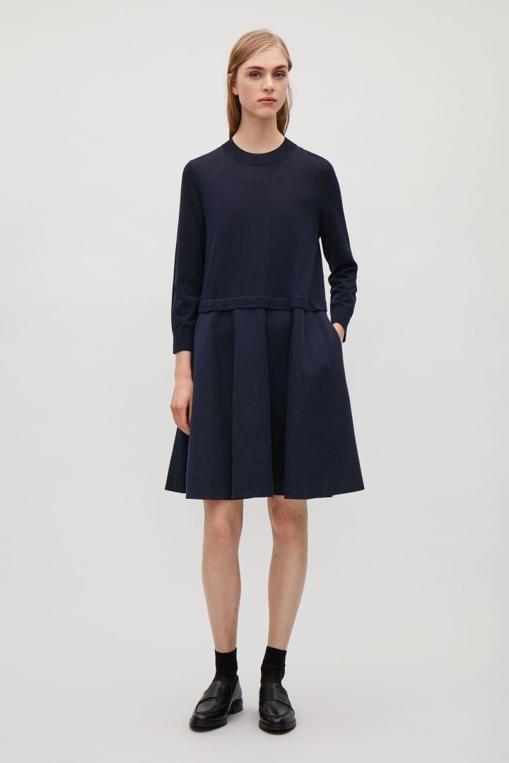 9ad4da959be9e COS image 1 of Knitted dress with woven skirt in Navy | A-春夏图片 ...