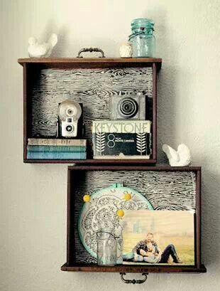 Old dresser drawers repurposed into shelf- frames