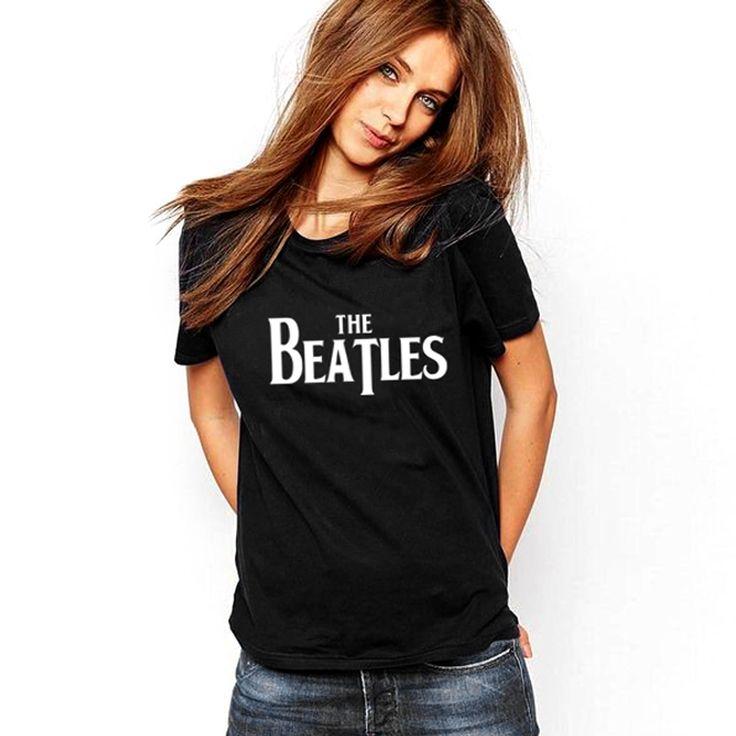 >> Click to Buy << Harajuku 2016 Camisetas Mujer Casual Tops The Beatles Letter Print Women T-Shirt Black Short Sleeve O-neck Tee shirt Femme Punk #Affiliate