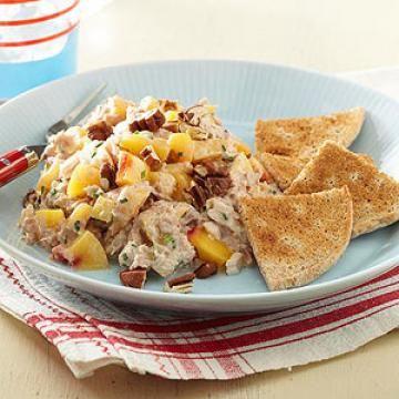 Tuna-Nectarine Salad with Bread Toasts