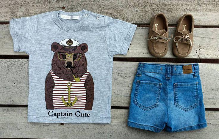 """⚓ C A P T A I N ⚫C U T E ⚓ 🆕 Remera Oso Capitán (de 1 a 6 años) + bermuda de jean (con Spandex,…"""""""