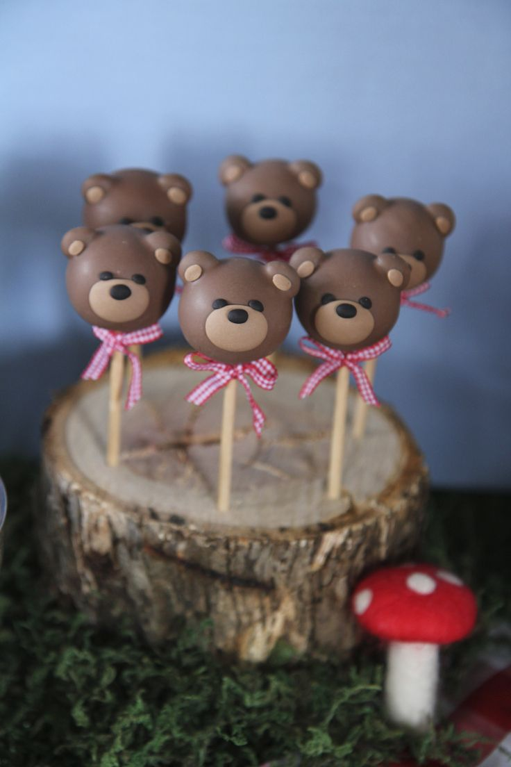 Teddy Bear Cake Pops. Teddy bears picnic cake pops in hand made stand for baby shower.