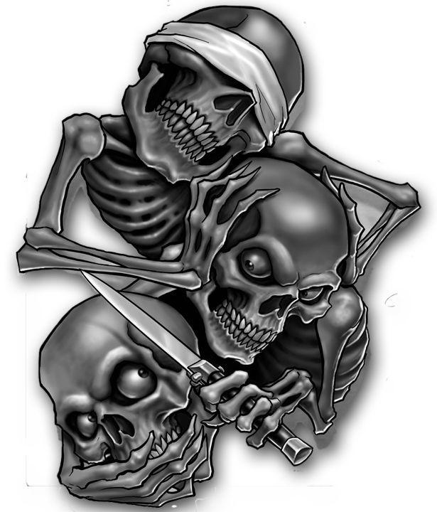 Scary Skulls   tattoos skulls evil see hear speak no tattoo o o tattoodonkey evil ...: