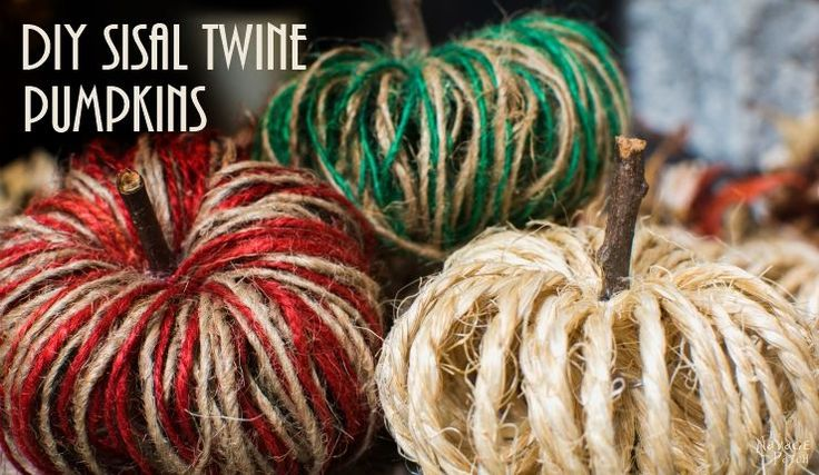 Learn how to make these adorable DIY Sisal Twine Pumpkins using inexpensive sisal twine that you can usually find at the Dollar Store!
