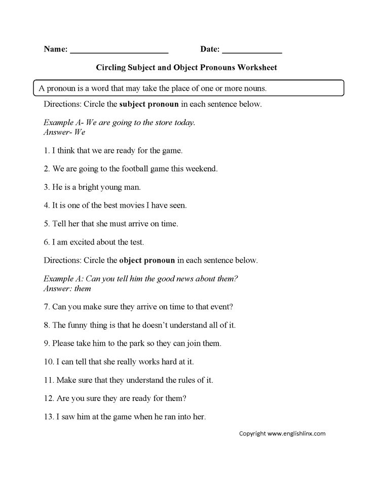 Grammar Worksheets For High School Word Top  Best Pronoun Worksheets Ideas On Pinterest  Pronoun  Proportion Worksheets Word Problems Excel with Free Th Worksheets This Subject And Object Pronouns Worksheet Instructs The Student To Circle  Both Subject And Object Pronouns Kindergarten Money Worksheets Pdf
