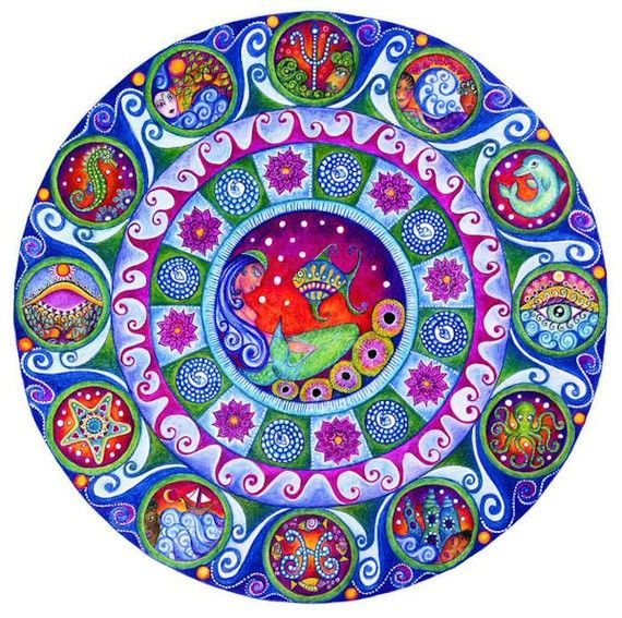 Pisces Astrology Mandala An example of Symbolic Pisces in Art and Nature: Astrology for the Soul's journey at aatmaani.com