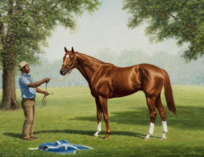 """Richard Stone Reeves (American, 1919-2005) SECRETARIAT """"I was commissioned by Mrs. Penny Chenery to paint Secretariat in June, 1973, shortly after he won the Belmont Stakes. The week after the race I drove to Belmont to do my preliminary work for the painting. I don't think any horse I've ever painted posed with more elegance. He seemed to enjoy being brought out into the early-morning sun and stood patiently in various positions for me until I was finished."""