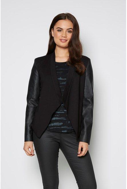 PU Sleeve Ponti Jacket Black 1