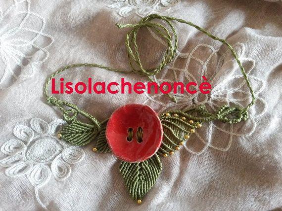 Collama macrame handmade papavero di lisolachenonce su Etsy