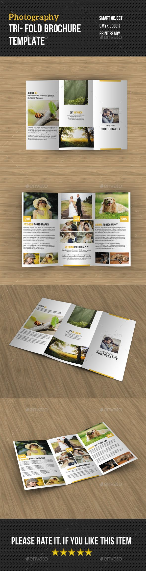 Photography Tri fold Brochure Template PSD #design Download: http://graphicriver.net/item/photography-tri-fold-brochure/13960704?ref=ksioks