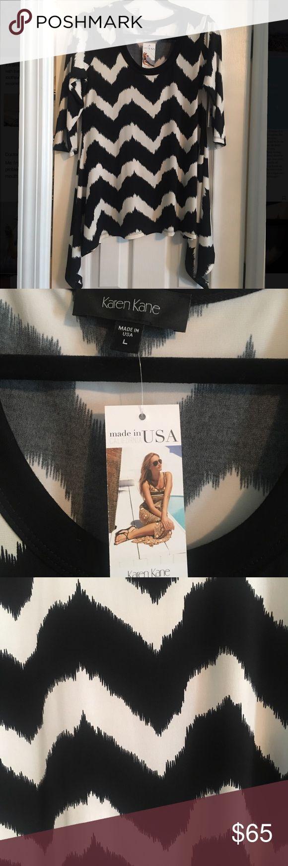 Karen Kane black and white chevron shirt Karen Kane black and white chevron shirt. BNWT. Made in the USA. Karen Kane Tops Tunics