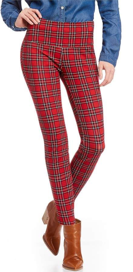 74b90817f44 Westbound Petite Size the PARK AVE fit Plaid Tummy Control Leggings in  black and red