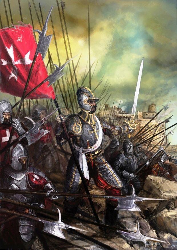 Caballeros de Malta defendiendo su isla en el Gran Asedio de 1565. Más en www.elgrancapitan.org/foro