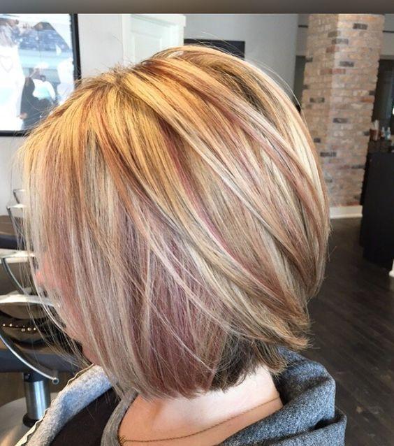 blonde & rose gold highlights: