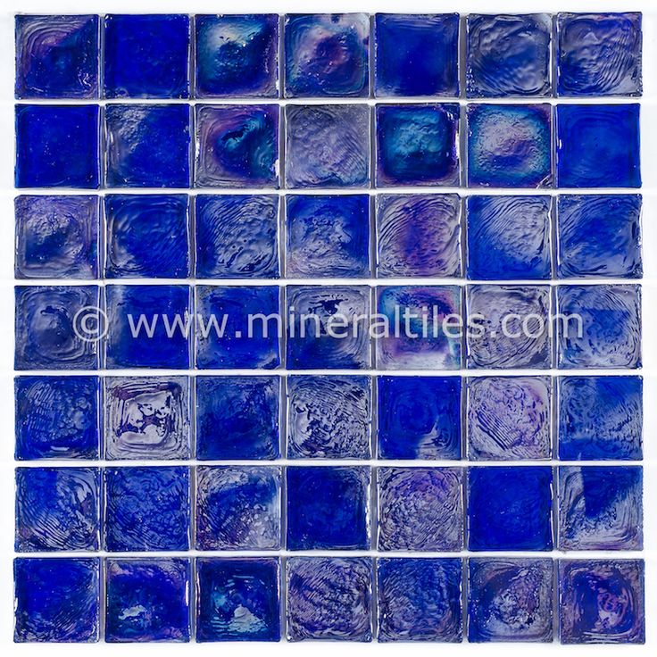 iridescent glass mosaic tile cobalt 2x2 - Mosaic Tiles