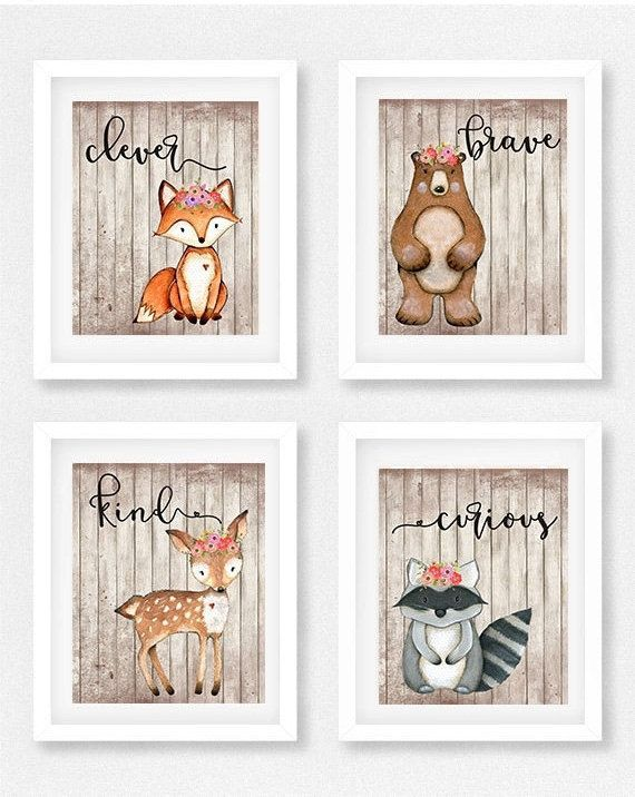 Woodland animal nursery set of 4 girls room fox picture for Jungen zimmer