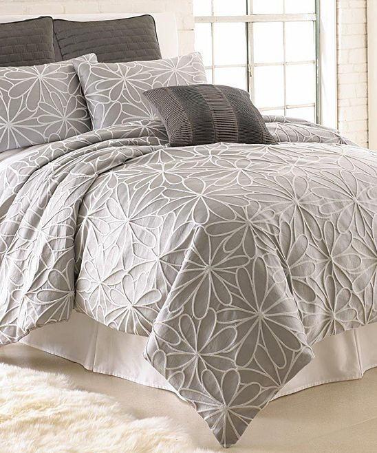 Features:  -Refresh your master suite or guest room with this chic comforter set, showcasing a floral motif..  -Color: Gray and taupe.  -Material: 100% Microfiber polyester.  -Pleating and embroidery